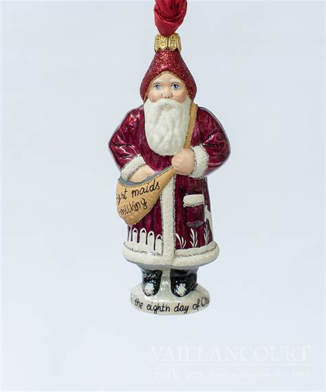 8th day of christmas glimmer ornament by vaillancourt folk art