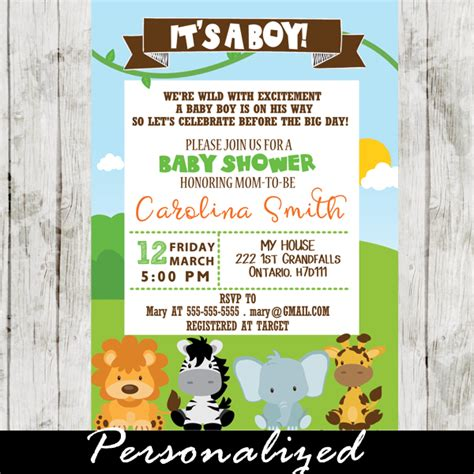 Jungle Themed Baby Shower Invitations by Jungle Theme Baby Shower Invitation Personalized