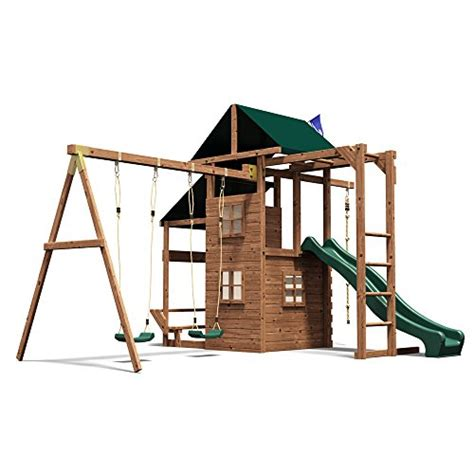 swing n slide monkey bars wooden playhouse climbing frame garden swing slide set