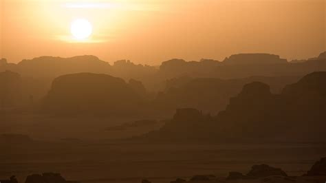 wallpaper tassili najjer sahara desert sunrise