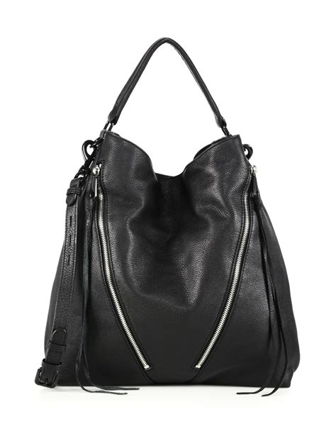 minkoff moto leather hobo bag in black lyst