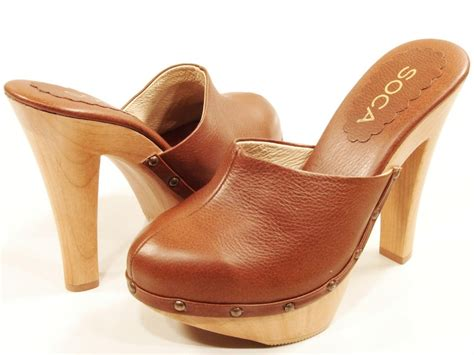 high heel clogs for womens soca high heel wooden platform clogs cognac ebay