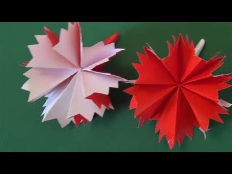 Origami Carnation Flower - quot carnation quot origami不器用でも作れる カーネーション 折り紙