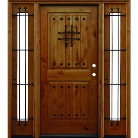 Front Door Panel Pacific Entries 66in X80in Rustic 2 Panel V Groove Stained Knotty Alder Wood Prehung Front Door
