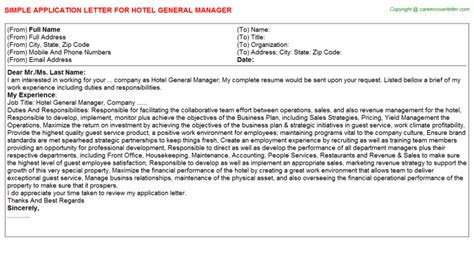 Work Experience Letter For General Manager Hotel General Manager Offer Letter
