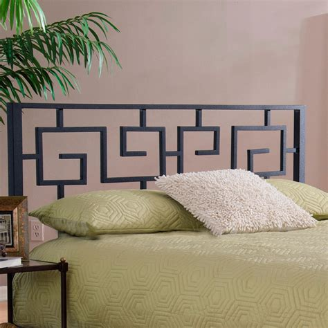 black greek key metal headboard contemporary