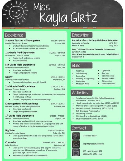 cv layout teacher best resume sles for teachers resume 2018
