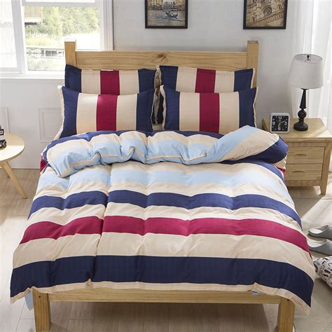 bright colored comforter sets wholesale price desinger striped plaid muji style bedding