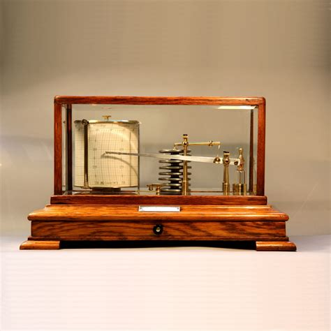 Chart Drawer by 5 Glass Oak Cased Barograph With Chart Drawer For Sale C