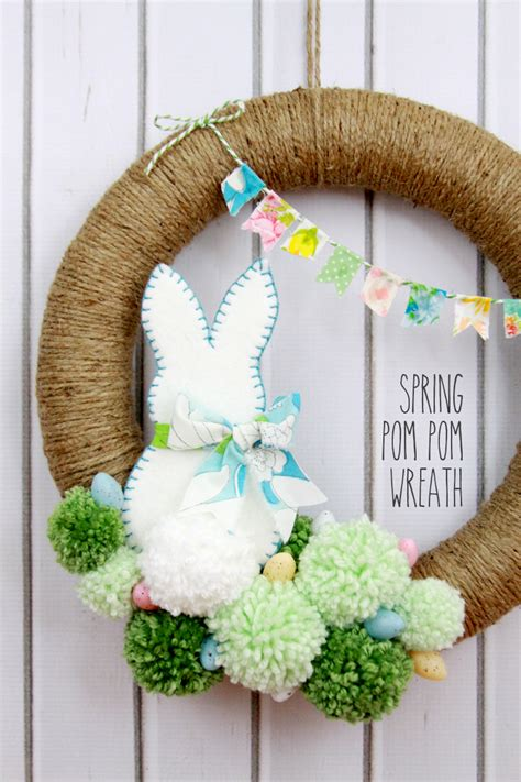 diy spring wreath spring pom pom wreath