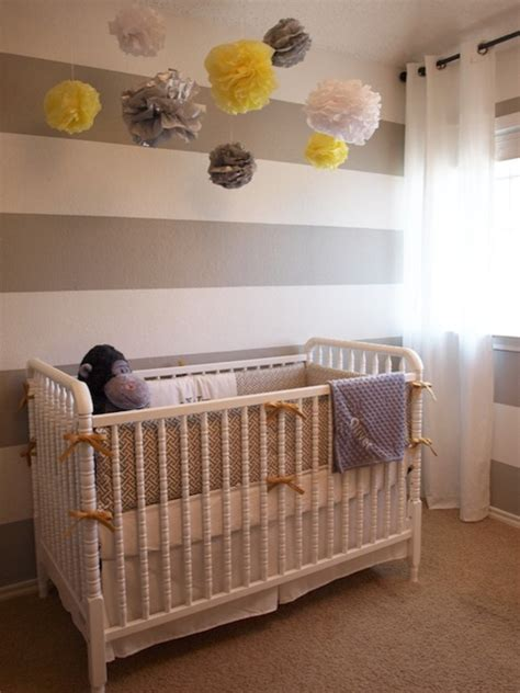 adorable yellow gray boy s striped nursery design with white gray horizontal stripes painted