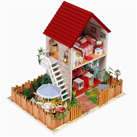Handmade Kits - handmade wooden dollhouse miniature diy kit large villa