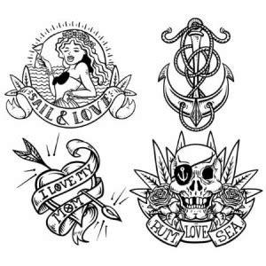 planche de 4 tatouages temporaires old marins 8cm 224