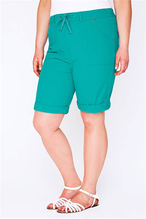 Hotpants 5 Button Size 27 30 turquoise cool cotton roll up shorts with tab button detail plus size 14 16 18 20 22 24 26 28 30 3