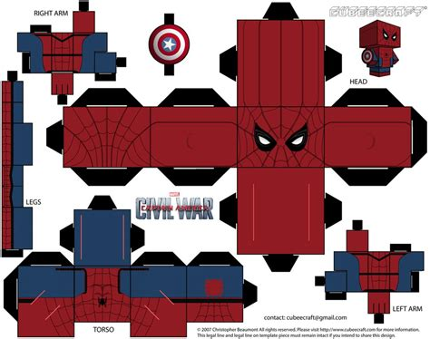 Captain America Papercraft - captain america civil war cubeecraft by jagamen