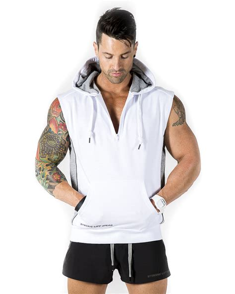 Hoodie I L Jidnie Clothing strong liftwear sleeveless hoodie mens top casual