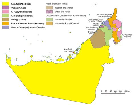arab emirates map vereinigte arabische emirate bergen karte