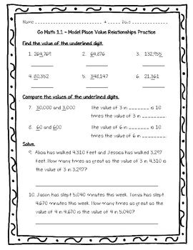 Place Value Relationships Worksheets by Go Math Practice 4th Grade 1 1 Model Place Value