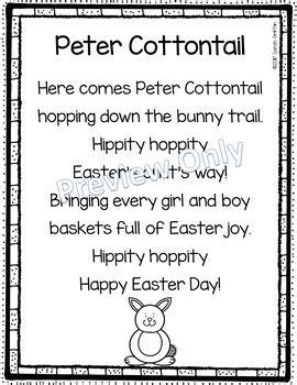 printable lyrics here comes peter cottontail peter cottontail printable easter poem for kids peter