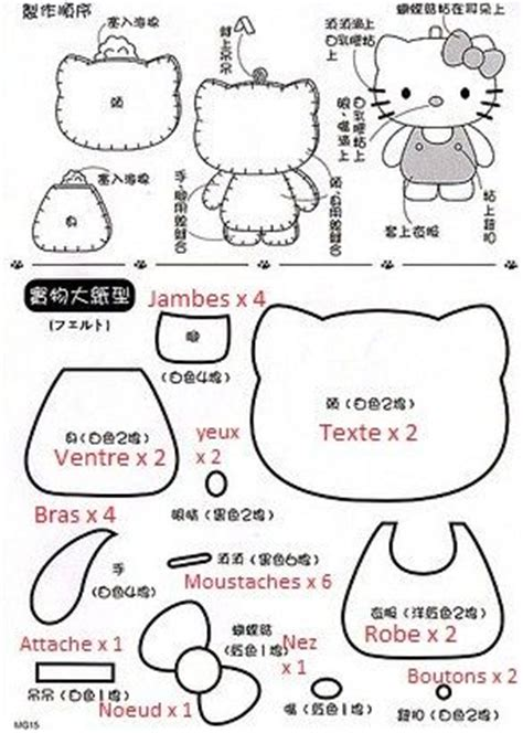 felt pattern hello kitty feutrines tissus petits plaisirs bon kokeshi et son