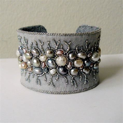 bead embroidery bracelets bead embroidery cuff bracelet with freshwater pearls by