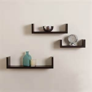 Home Decor Wall Shelves Elegant Floating Shelves U Walnut Brown Finish Set Of 3