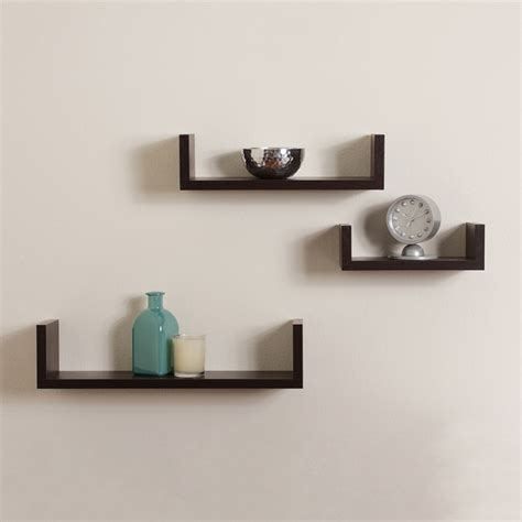 floating u shaped shelves walnut brown finish set of 3