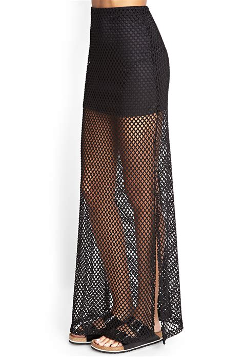 forever 21 mesh net maxi skirt in black lyst