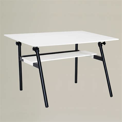 Fold Away Drafting Table Berkeley Pro Fold Away White Table With Shelf Ebay
