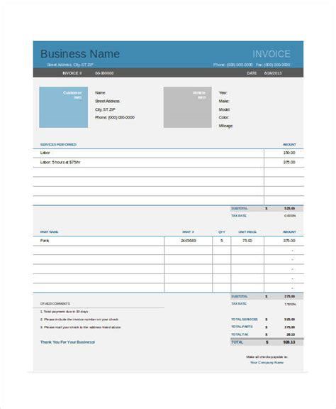 sle printable invoice how to auto number invoice 8 auto repair invoice
