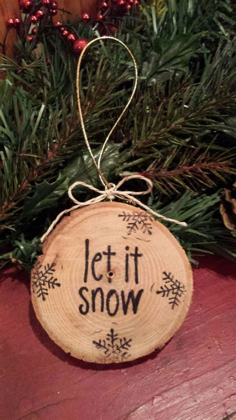 snow wood slice ornament messages christmas