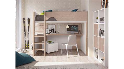 lit mezzanine ado avec bureau d angle spacieux glicerio