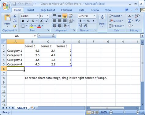 How To Create A Spreadsheet In Word by Open And View Chart Data Chart Create 171 Chart