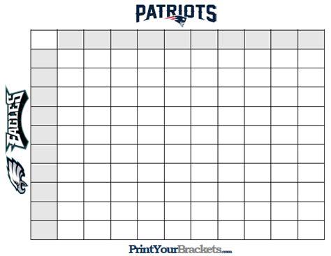 Super Bowl Squares Template A Playing Guide For Patriots Vs Eagles Sbnation Com Bowl Box Template