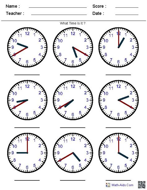 free printable time math sheets generate random clock worksheets for pre k kindergarten