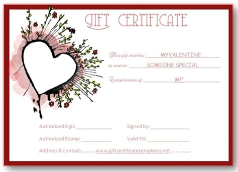 abstract heart gift certificate template beautiful