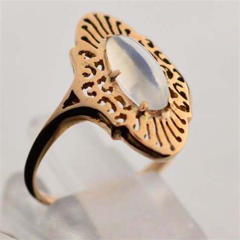 Handcrafted Gold Rings - moonstone and gold ring beautiful handcrafted 14k yellow
