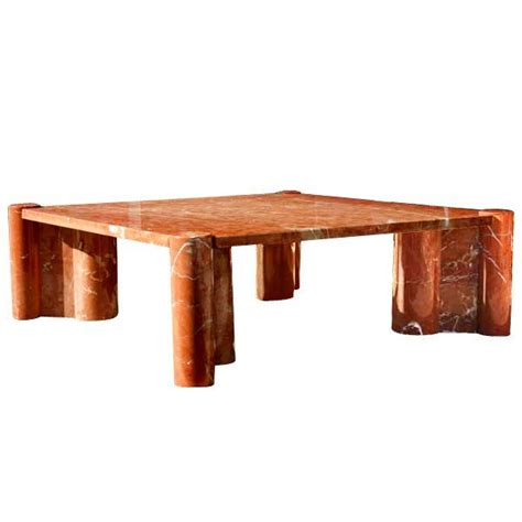 Gae Aulenti For Knoll Rosso Terracotta Marble Jumbo Coffee Gae Aulenti Coffee Table