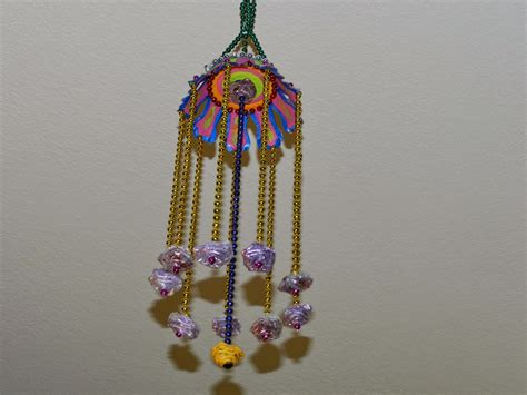 Hanging Paper Crafts - wall hanging craft with bead chain paper cup and