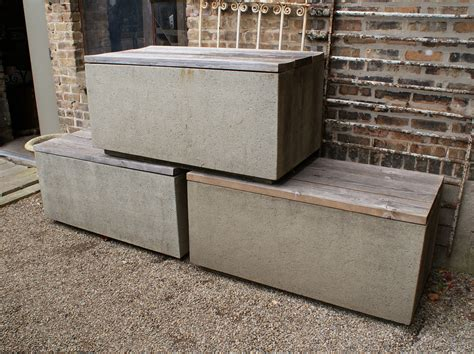 Faux Concrete Outdoor Planter Bench Table Salvage One Faux Concrete Planters