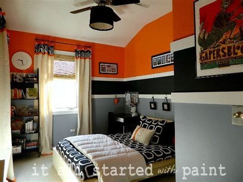 Orange Black Gray Boy S Bedroom And Black Boys Room