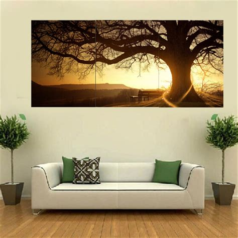 Home Interior Wall Decor 3pcs Sunset Combination Painting Printed On Canvas Frameless Drawing Home Background Wall Decor