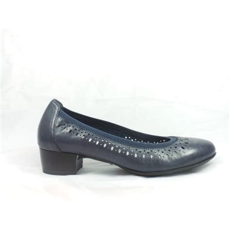 marco tozzi navy blue leather ballerina court shoe marco