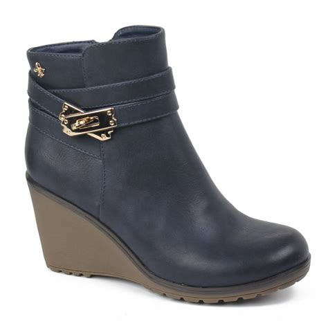 xti navy wedge ankle boot