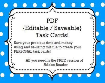 Free Task Card Pdf Template Savable Editable All You Need Is The Free Version Of Adobe Task Card Template 2