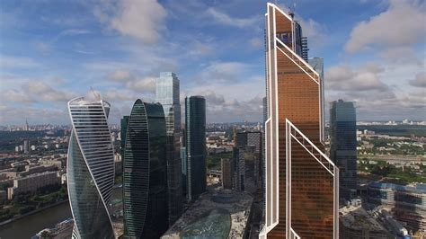 mercury city tower modern architecture buildings moscow city russia from above downtown