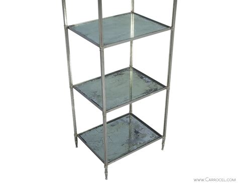 Etagere Nickel by Eglomise Glass Polished Nickel Etagere Carrocel
