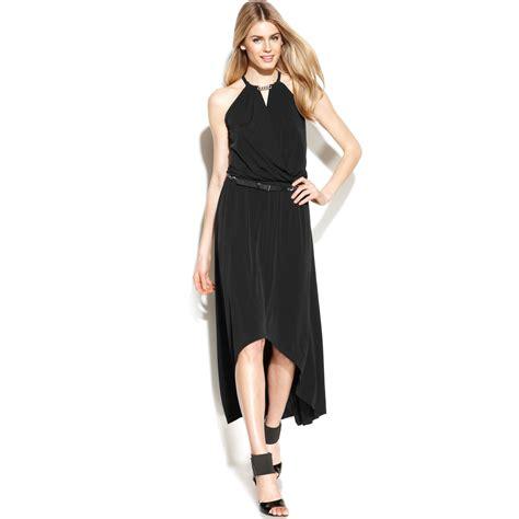 michael kors belted high low halter dress in black black