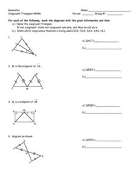 Congruent Triangles Worksheet Answers by Geometry Congruent Triangles Hw 6 Worksheet For 8th 10th Grade Lesson Planet