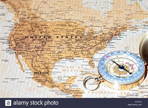 map of usa with compass compass on a map pointing at united states planning a